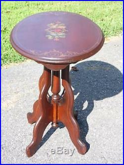 Antique Victorian Hand Painted Floral Oval Walnut Parlor Pedestal Table