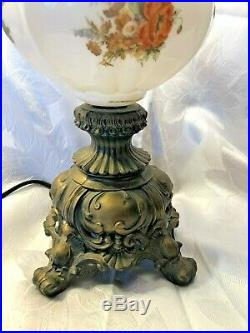 Antique Victorian Hand Painted GWTW Lamp and Shade with 66 Prisms, Large 29x14