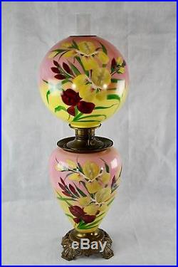 Antique Victorian Hand Painted Iris GWTW Jumbo Parlor Oil/Kerosene Lamp