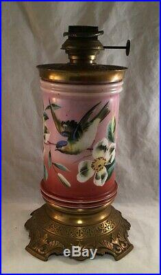 Antique Victorian Hand Painted Opaque Glass Cylinder And Brass Stand Oil Lamp