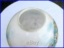 Antique Victorian Hand Painted Wild Flowers GWTW Banquet Oil Kerosene Lamp 24