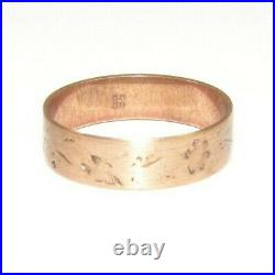 Antique Victorian Hand Stamped 10K Solid Gold Cigar Band Wedding Ring