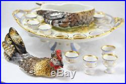 Antique Victorian Hungarian Porcelain Hen Egg Serving Dish. Hand-Painted, Gilded