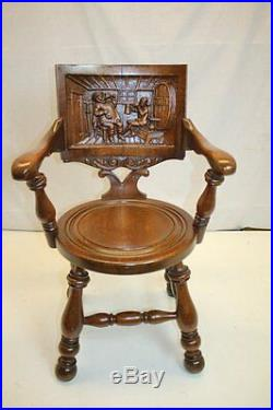 Antique Victorian Jacobean Ornate Hand Carved Wooden Arm Chair Circa 19th