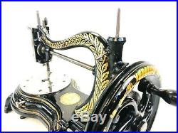 Antique Victorian Jones Cat Back Serpentine Hand Sewing Machine