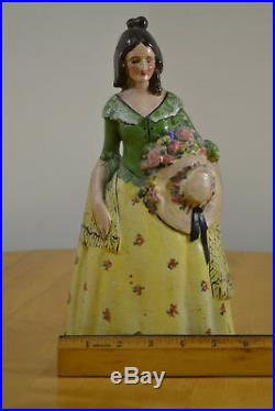 Antique Victorian Lady 100 Year Old Cast Iron Door Stop Org. Factory Hand Paint