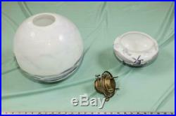 Antique Victorian Lamp Light Shade Ball Hand Painted Delft Holland Windmill dq