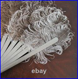 Antique Victorian Large Ostrich Feather Painted Silver Wooden Women's Hand Fan