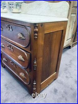 Antique Victorian Marble Top Hand Carved Walnut 3 Drawer Dresser