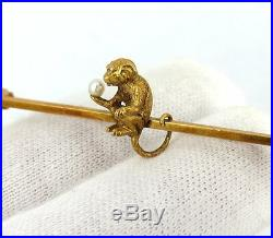 Antique Victorian Monkey & Pearl 15K Yellow Gold Hand Made Bar Pin