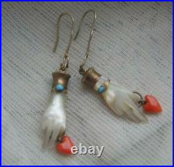 Antique Victorian Mother of Pearl Hand Earrings Real Coral Hearts & Turquoise