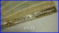 Antique Victorian Mother of Pearl Hand Fan Painted Signed M. Dumas