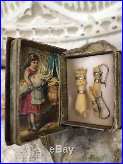 Antique Victorian Mourning Ivory Colored Queen Victoria Hands Pendant & Earrings