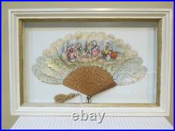 Antique Victorian Paper Fan Hand Painted in Cream Shadowbox Frame 24 X 16
