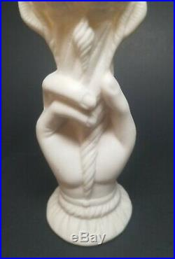 Antique Victorian Parian Ware Pottery Right Hand Spill Vase 6-5/8 SHELLS TORCH
