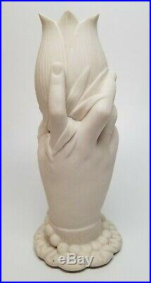 Antique Victorian Parian Ware Pottery Right Hand Spill Vase 8 TULIP
