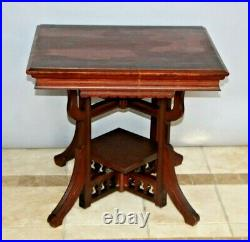 Antique Victorian Parlor Table hand carved bottom bookshelf Solid Mahogany