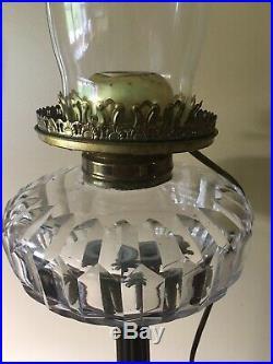 Antique Victorian Parlour Banquet Brass Lamp withoriginal Hand Painted Globe