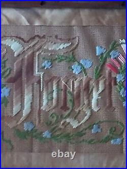 Antique Victorian Punched Paper Sampler Motto Forget Me Not with Clasped Hands
