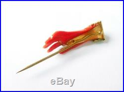 Antique Victorian Red Celluloid Faux Coral & Pinchbeck Filigree Hand Pin Brooch