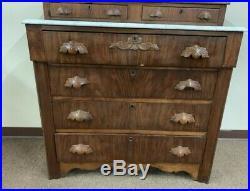 Antique Victorian Renaissance Revival Marble Top Dresser Hand Carved Pulls