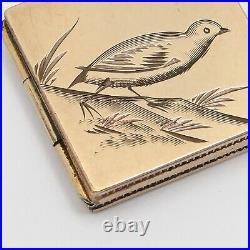 Antique Victorian Rose Gold Filled GF Plover Bird Hand Etched Locket Pendant