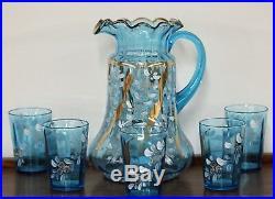 Antique Victorian Ruffled Blue Hand Painted Pitcher 5 Glass Lemonade/ Water Set