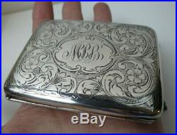 Antique Victorian STERLING SILVER Calling Card Case Wallet Purse Hand Chased