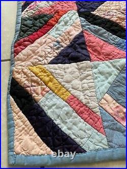 Antique Victorian Satin Crazy Quilt 70x78 Hand Made Sewn Patchwork Blanket VTG