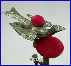 Antique Victorian Sewing Bird Third Hand Clamp with Red Velvet Dual Pincushion