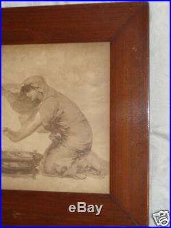 Antique Victorian Signed Aubert Lady Cherub Warming Hands Print Original Old