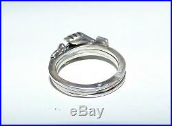 Antique Victorian Silver Fede Gimmel Ring Betrothal Ring Clasped Hands & Heart