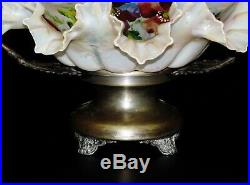 Antique Victorian Silver Plate Brides Basket with Hand painted Crest Ruffle bowl