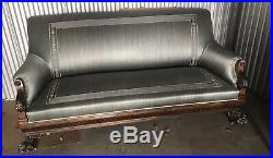 Antique Victorian Sofa / Couch. Hand Carved Light Gray Silk Covered