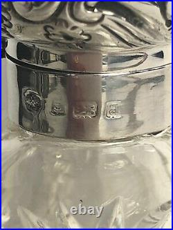Antique Victorian Sterling Silver Hallmark Cap Hand Cut Crystal PERFUME BOTTLE