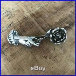 Antique Victorian Sterling Silver Hand and Rose Mourning Brooch 5.35g