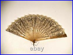 Antique Victorian Style Handmade Sequin Hand Fan