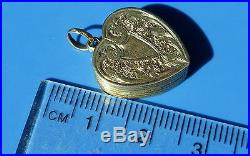 Antique Victorian Sweetheart Picture Locket Hand Engraved Heart Gold Pendant