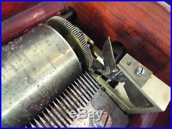 Antique Victorian Swiss Tabletop Music Box Hand Crank Harmony 6 Tunes 1870s 90s