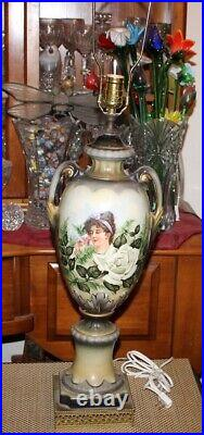 Antique Victorian Vase Converted Lamp Hand Painted Woman Smelling Flowers Signed