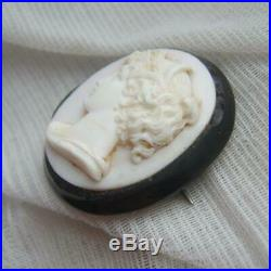 Antique Victorian Whitby Jet Hand Carved Shell Cameo Brooch