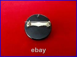 Antique Victorian Whitby Jet Hand-Carved Shell Mourning Cameo Pin/Pendant