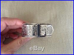 Antique Victorian c1870 Sterling Silver Hand Engraved Cuff Buckle Bracelet 33.44