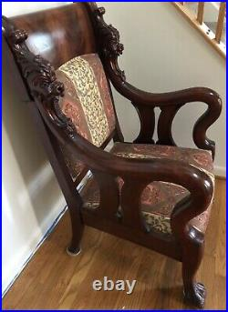 Antique Victorian hand carved Lion Head Mahogany Arm Chair