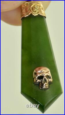 Antique Victorian hand carved Nephrite&9k gold Memento Mori Skull pendant, boxed