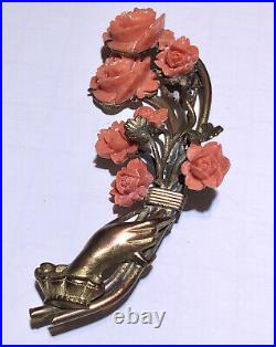 Antique Victorian hand with celluloid molded flowers pin brooch Rare