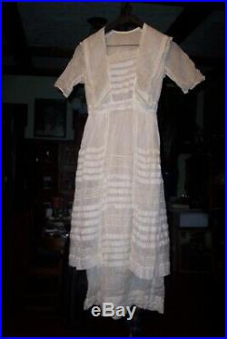 Antique Vintage 1914 Victorian/edwardian Hand Made Wedding Dress, Small Size