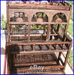 Antique Vintage Bird Cage Victorian Dome Mahogany Wood Hand Crafted Refurbished