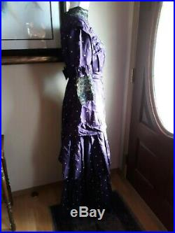 Antique Vintage Edwardian Victorian Original Hand Stitched Purple Silk Dress