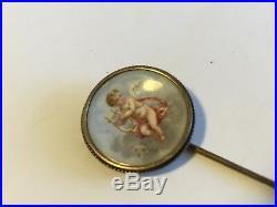 Antique Vintage Victorian 14k Hand Painted On Porcelain Portrait Stick Pin